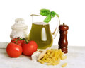 Mediterranean healthy food raw and pasta Royalty Free Stock Image