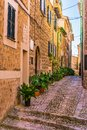 Mediterranean houses at street of Fornalutx village, Majorca Spain Royalty Free Stock Photo