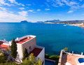 Mediterranean houses in teulada at alicante moraira with calpe penon ifach view Royalty Free Stock Image