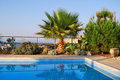 Mediterranean Luxury swimming pool Royalty Free Stock Images