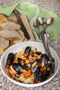 Mediterranean mussels with tagliatelle and baguette Royalty Free Stock Photo