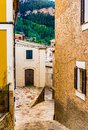 Mediterranean old village with narrow alley way in Estellencs, Majorca Spain Royalty Free Stock Photo
