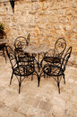 Mediterranean outdoor cafe Royalty Free Stock Images