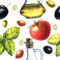 Mediterranean pattern with olives, olive oil, basil, tomato. Watercolor illustration.