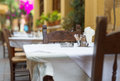 Mediterranean restaurant terrace. Royalty Free Stock Photo