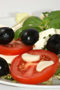 Mediterranean salad with cheese and olive Royalty Free Stock Photo