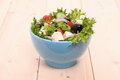 Mediterranean salad gigantic black olives sheeps cheese close up Stock Photo