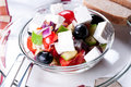 Mediterranean salad with goat cheese Royalty Free Stock Photo