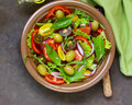 Mediterranean salad with olives, avocado
