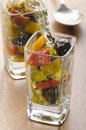 Mediterranean salad in a shot glass Royalty Free Stock Photo