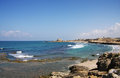 Mediterranean sea coastline in Acre, Israel Royalty Free Stock Image