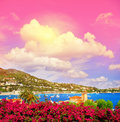 Mediterranean sea landscape fantastic sunset sky. French riviera Royalty Free Stock Photo