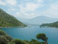 Mediterranean sea landscape view coast mountains Royalty Free Stock Photo