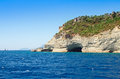 Mediterranean sea landscape view mountains with a grotto Royalty Free Stock Photo