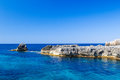 Mediterranean sea scenery with cliffs of menorca island spain Royalty Free Stock Images