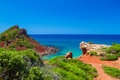 Mediterranean sea view from menorca island coast at cala del pilar spain Royalty Free Stock Photos