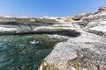Mediterranean sea. White rocks near Governor`s beach Royalty Free Stock Photo