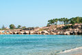 Mediterranean seahore in cyprus island with rocky coastline Stock Photos