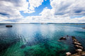 Mediterranean seascape sea and sky. Blue deep green. Terrace. Royalty Free Stock Photo