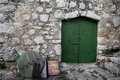Mediterranean street and green doors Stock Images