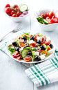 Mediterranean style salad feta cheese olives Stock Images