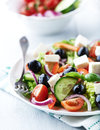 Mediterranean style salad feta cheese olives Royalty Free Stock Photos