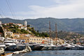 Mediterranean summer coast view mountains landscape yachts sea and blue sky Royalty Free Stock Photography