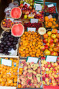Mediterranean summer fruits in balearic islands market outdoor Stock Photos