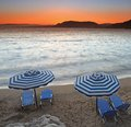 Mediterranean Sunset at Pefkos Royalty Free Stock Photos