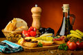Mediterranean tapas snacks still life with traditional food Stock Images