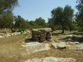 Mediterranean thyme dolmen found in salento apulia italy Stock Photos