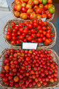Mediterranean tomatoes in balearic islands market outdoor Royalty Free Stock Images