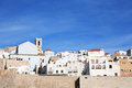 Mediterranean town view of old spanish peniscola against blue sky Royalty Free Stock Image