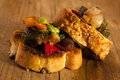 Mediterranean vegetables on bread. Stock Image