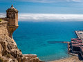 Mediterranean view in alicante spain over the beach docks and sea from the ramparts of santa barbara castle Royalty Free Stock Photo
