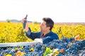 Mediterranean vineyard farmer harvest cabernet sauvignon farming grape field in spain Stock Photo
