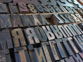 Medium Close up Large Metal Block Type Letters Royalty Free Stock Photo