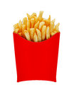 Medium fries in box isolated on white french or chips originally called pommes frites and more recently named freedom america a Royalty Free Stock Photography