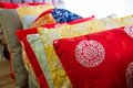 Medium-sized pile of oriental cushions Royalty Free Stock Photo