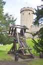 Medival catapult at warwick castle Stock Photo