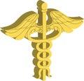 Medizinisches Symbol 3d des Caduceus Stockfoto