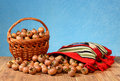 Medlar in a wicker basket and in a etno bag Royalty Free Stock Photo