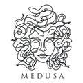 Medusa face continuous single line style