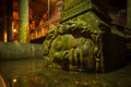 Medusa a large head supports a column at the basilica cistern in istanbul turkey Royalty Free Stock Photography