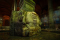 Medusa a large head supports a column at the basilica cistern in istanbul turkey Stock Image