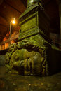 Medusa a large head supports a column at the basilica cistern in istanbul turkey Royalty Free Stock Photo