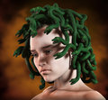Medusa snakes head greek mythology woman with venomous as hair on Royalty Free Stock Photos