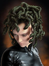 Medusa snakes mythology greek woman with venomous as hair on head Stock Images