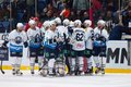 Medvezhchak team rejoice of win moscow january unidentified players on hockey game vityaz vs medvezchak on russian khl premier Royalty Free Stock Image