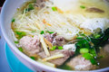 Mee sua rice noodle soup mix pork mix vegetable and spice sourthern thailand food delicious yummy cuisine Stock Photography